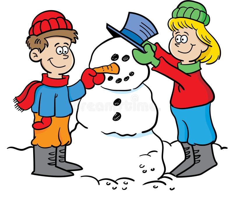 Ungar som bygger en snowman stock illustrationer