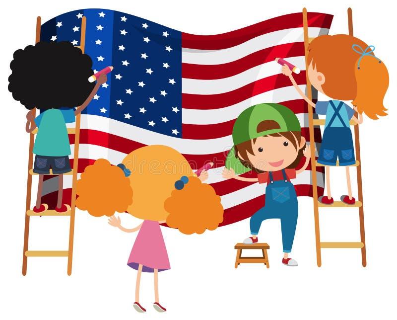 Ungar som drar amerikanska flaggan på vita Backgrtound royaltyfri illustrationer