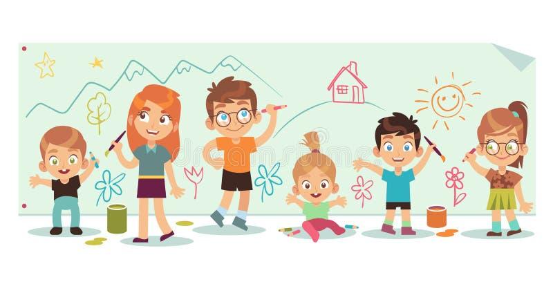 Ungar som drar bilder Konstbarn målar färg för bilden för borsten för attraktion för mångfald för hjälpmedelungegruppen handgjord stock illustrationer