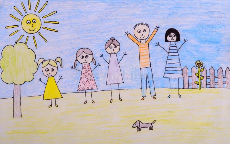 Ungar som drar den lyckliga familjbilden arkivfoto