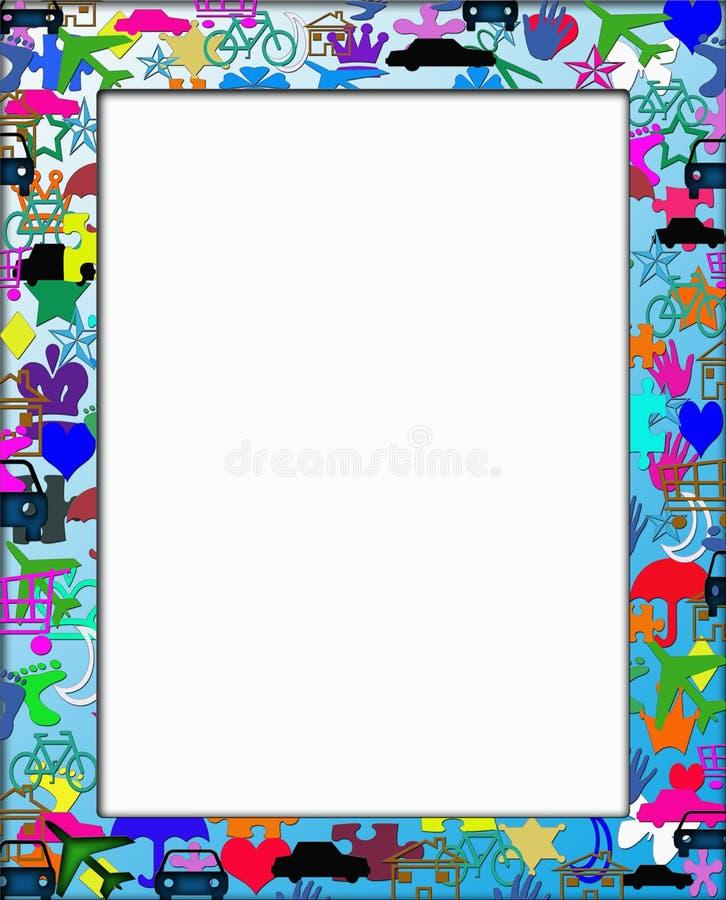 Ungar som färgrika Themed inramar, gränsar royaltyfri illustrationer