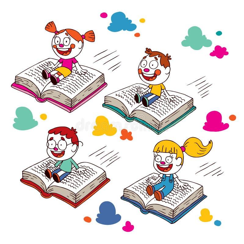 Ungar som flyger på böcker vektor illustrationer