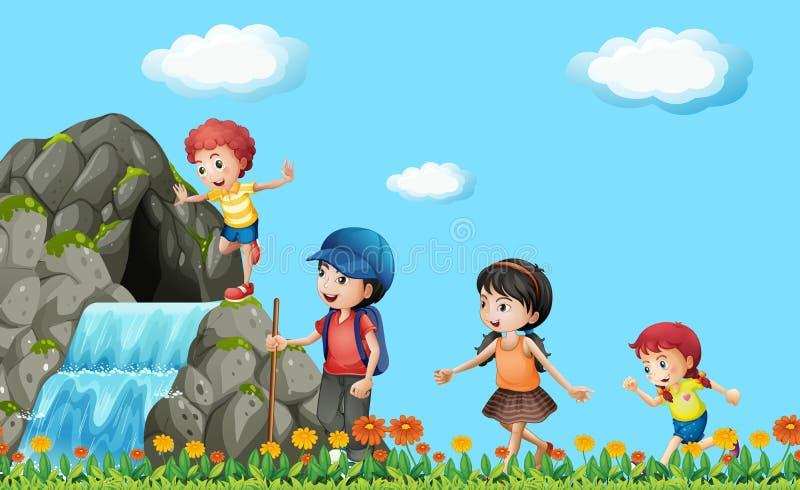 Ungar som fotvandrar på vattenfallet vektor illustrationer