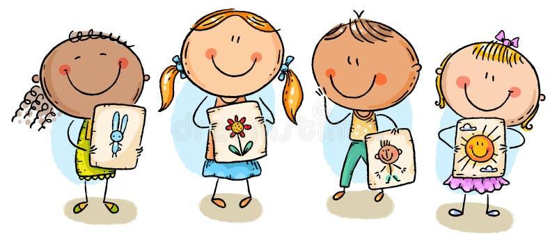 Ungar som framlägger deras teckningar stock illustrationer