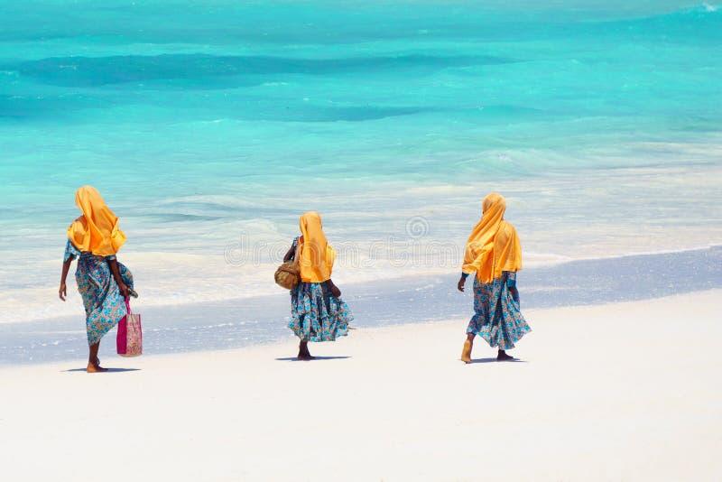 Ungar som går till skolan i Zanzibar royaltyfri foto