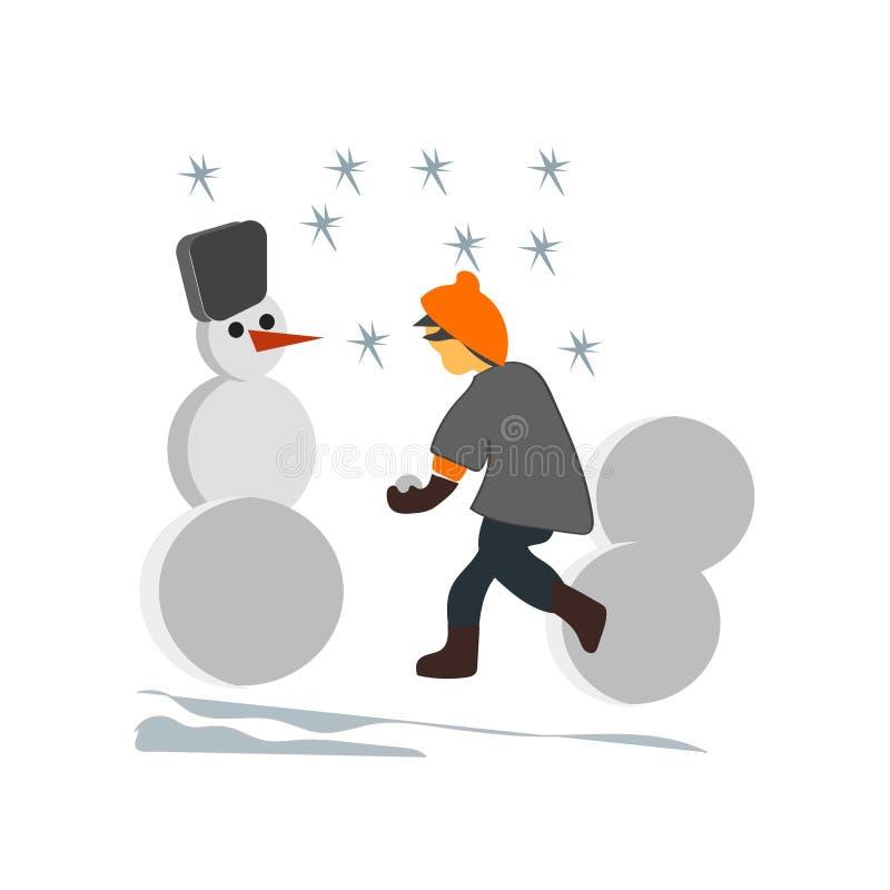 Ungar som gör det isolerade tecknet och symbolet för snögubbevektorvektor på vit bakgrund, ungar som gör begrepp för snögubbevekt vektor illustrationer