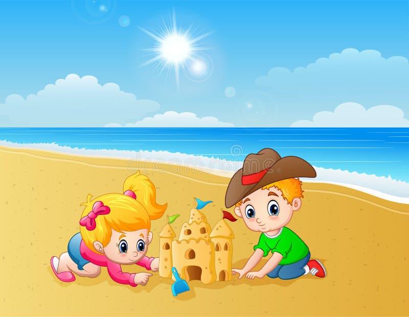 Ungar som gör sandslotten på stranden vektor illustrationer