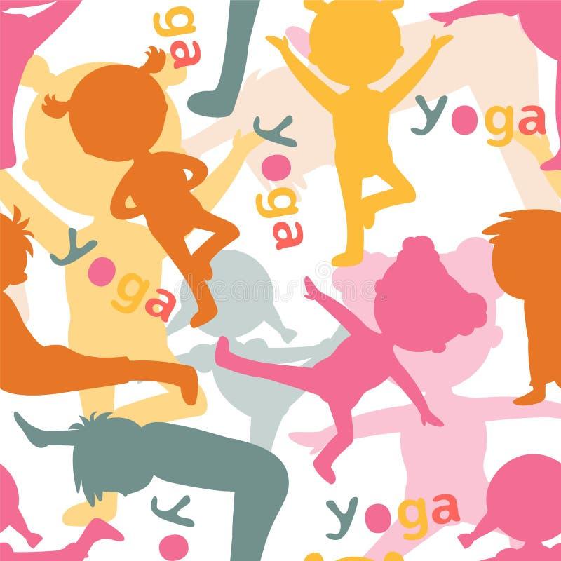 Ungar som gör yogakonturmodellen vektor illustrationer
