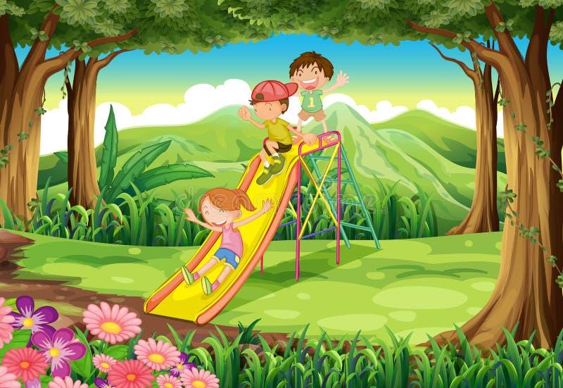 Ungar som glider på skogen stock illustrationer
