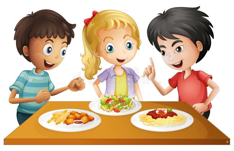 Ungar som håller ögonen på tabellen med foods royaltyfri illustrationer