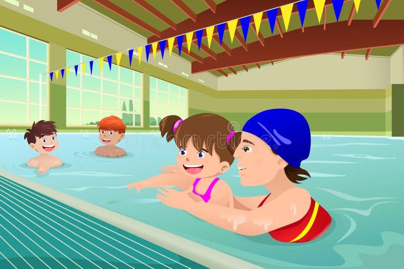 Ungar som har en simningkurs i inomhus pöl royaltyfri illustrationer