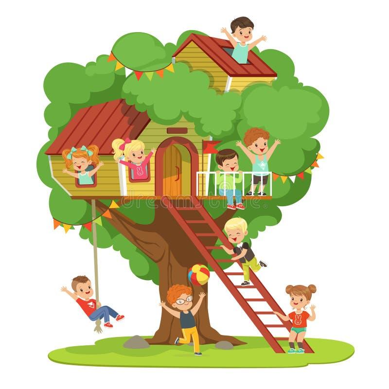 Ungar som har gyckel i treehousen, barns lekplats med gunga och färgrik detaljerad vektorillustration för stege vektor illustrationer