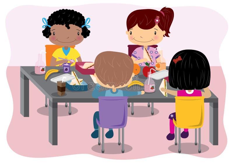 Ungar som har lunch stock illustrationer