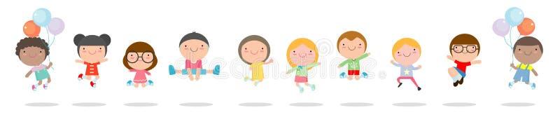 Ungar som hoppar med glädje, childern lycklig banhoppning, lyckligt tecknad filmbarn som spelar på vit bakgrund, vektorillustrati vektor illustrationer
