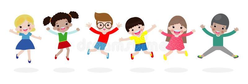 Ungar som hoppar på, parkerar, barn hoppar med glädje, det lyckliga tecknad filmbarnet som spelar på lekplatsen som isoleras på v vektor illustrationer