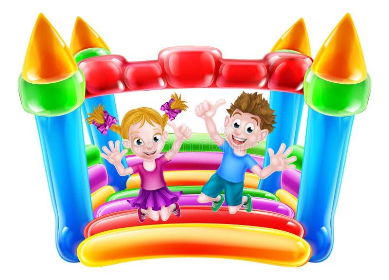 Ungar som hoppar på uppblåsbar slott stock illustrationer
