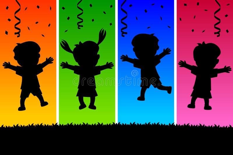 Ungar som hoppar Silhouettes royaltyfri illustrationer