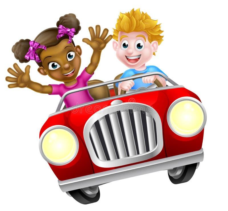 Ungar som kör bilen vektor illustrationer