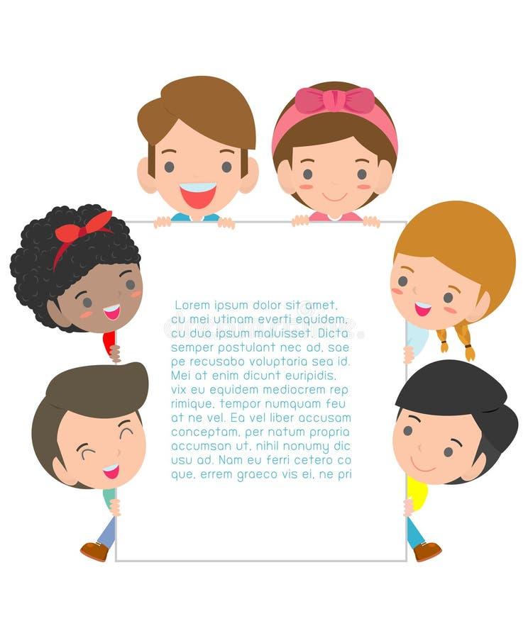 Ungar som kikar bak plakatet som isoleras på bakgrund som är klar för din text, ordnar till för ditt meddelande I stilen av barns stock illustrationer