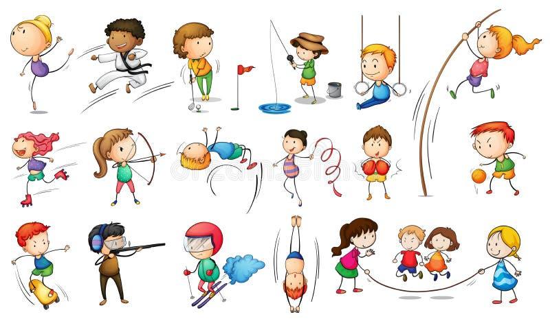 Ungar som kopplar in i olika sportar vektor illustrationer