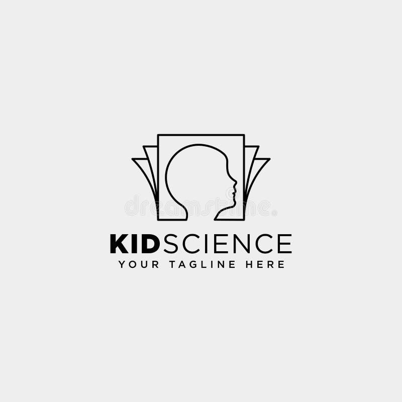 ungar som lär, för logomall för vetenskap idérik beståndsdel för symbol för illustration för vektor, isolerade arkivfoton