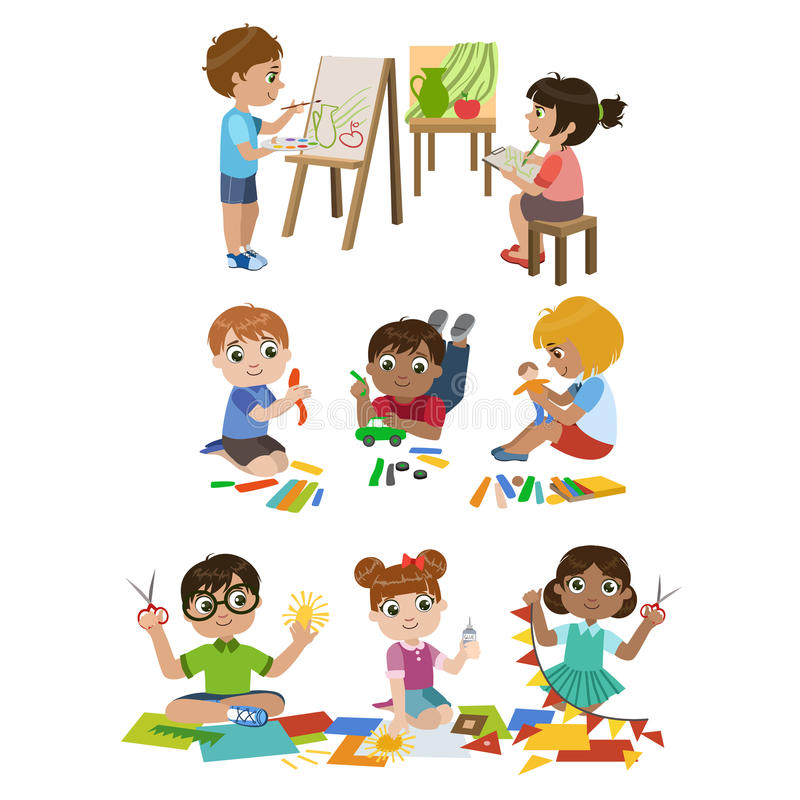 Ungar som lär hantverket vektor illustrationer
