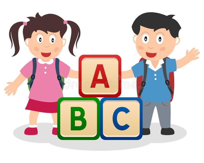 Ungar som lärer med ABC-kvarter vektor illustrationer