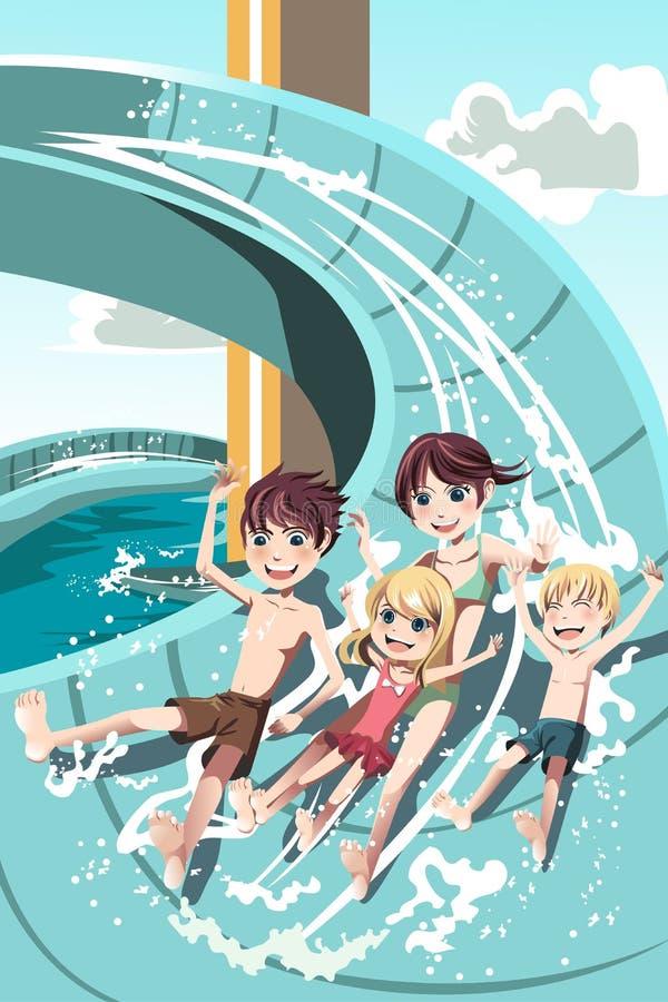 ungar som leker glidbanavatten vektor illustrationer