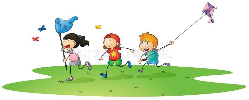 Ungar som leker med drakar vektor illustrationer