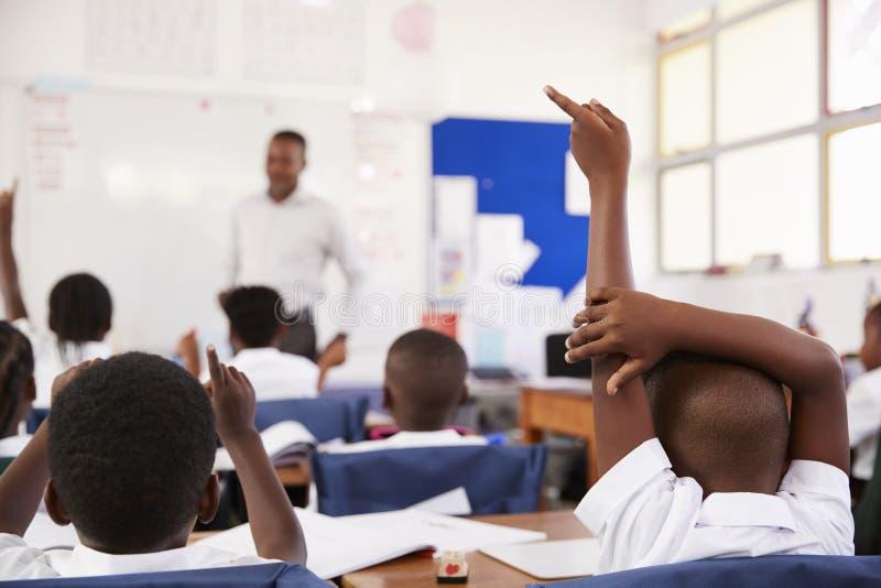Ungar som lyfter händer för att svara läraren på en grundskolakurs fotografering för bildbyråer