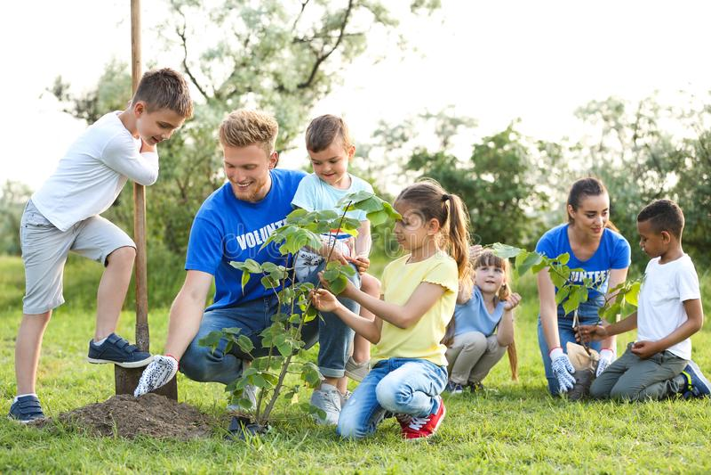 Ungar som planterar träd med volontärer arkivfoto