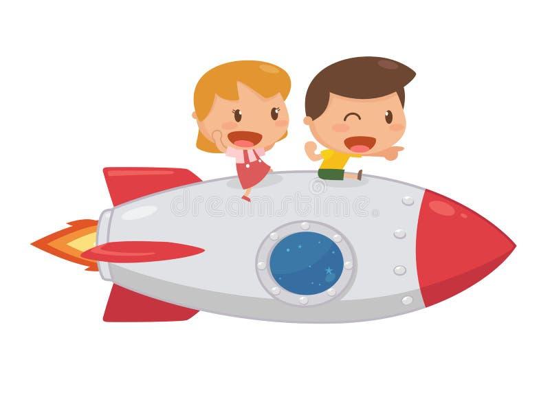 Ungar som rider på en raket royaltyfri illustrationer