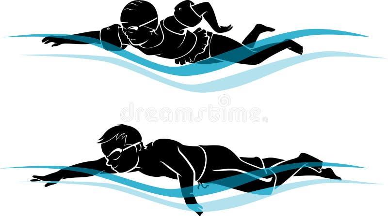 Ungar som simmar konturn stock illustrationer