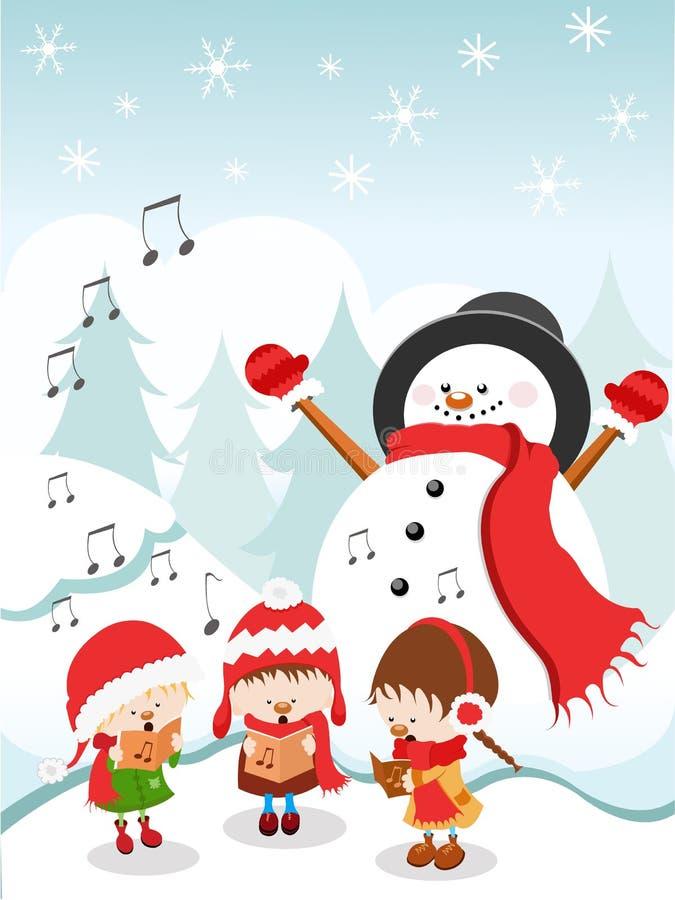 Ungar som sjunger julsång stock illustrationer