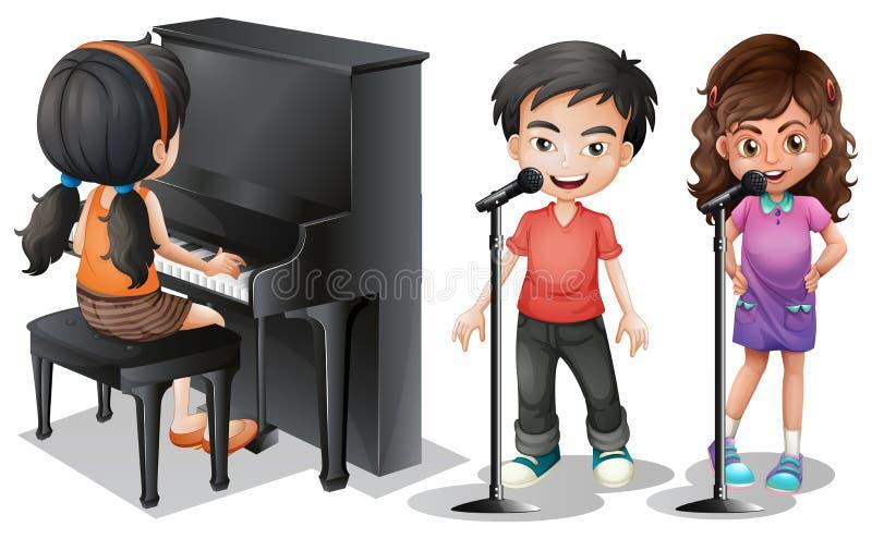Ungar som sjunger och spelar pianot stock illustrationer