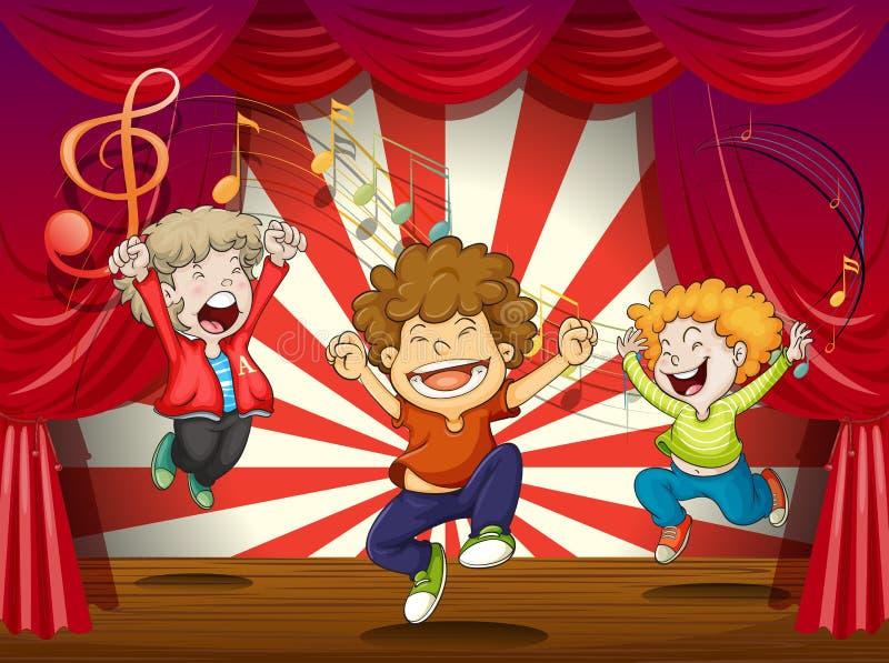 Ungar som sjunger på etappen vektor illustrationer