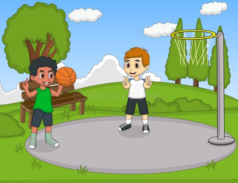 Ungar som spelar basket i parkera vektor illustrationer