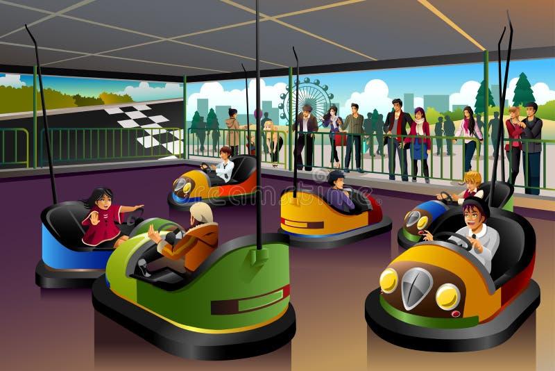 Ungar som spelar bilen i ett nöjesfält royaltyfri illustrationer
