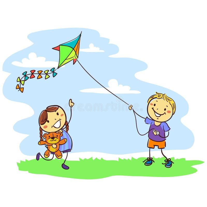 Ungar som spelar draken på fält stock illustrationer