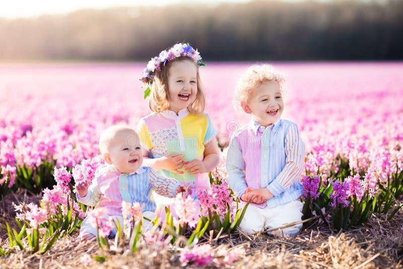 Ungar som spelar i blommafält fotografering för bildbyråer