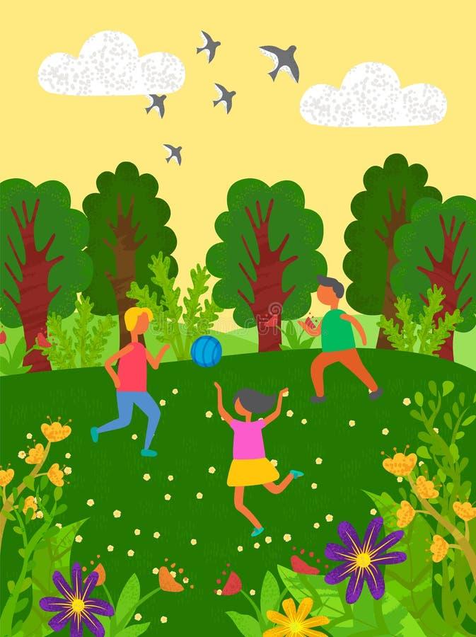 Ungar som spelar i, parkerar, lekplatsbarnvektorn stock illustrationer