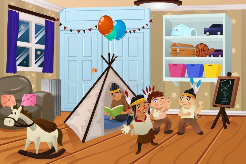 Ungar som spelar i sovrummet stock illustrationer