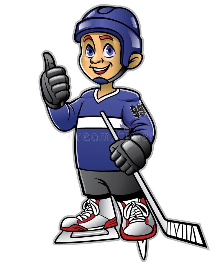 Ungar som spelar ishockeyn royaltyfri illustrationer