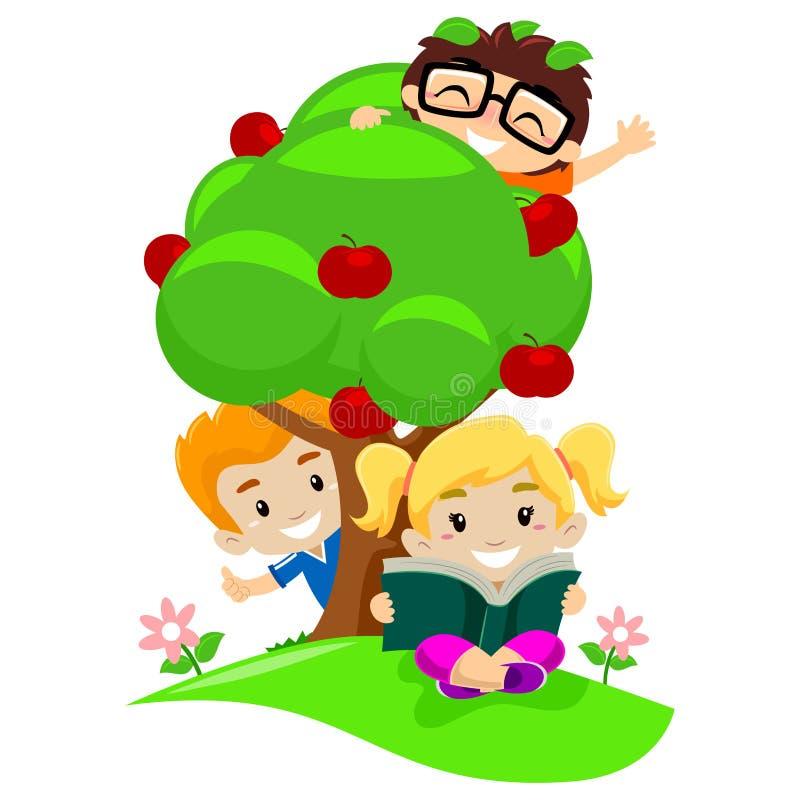 Ungar som spelar på äppleträd royaltyfri illustrationer