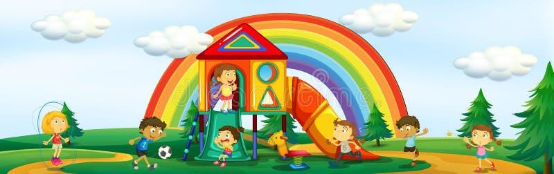 Ungar som spelar på lekplatsen royaltyfri illustrationer