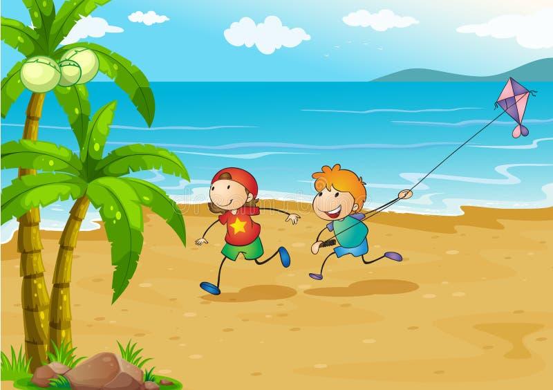 Ungar som spelar på stranden med deras drake royaltyfri illustrationer