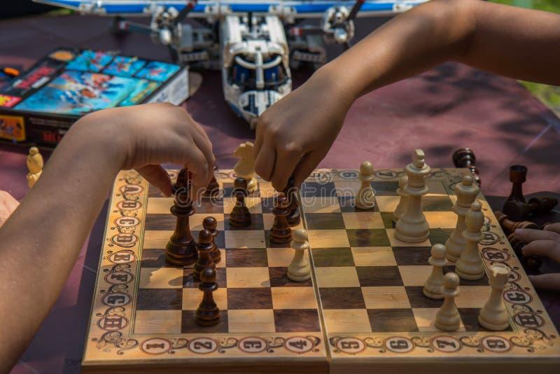 Ungar som spelar schack i trädgård med suddiga leksaker på bakgrund arkivfoton