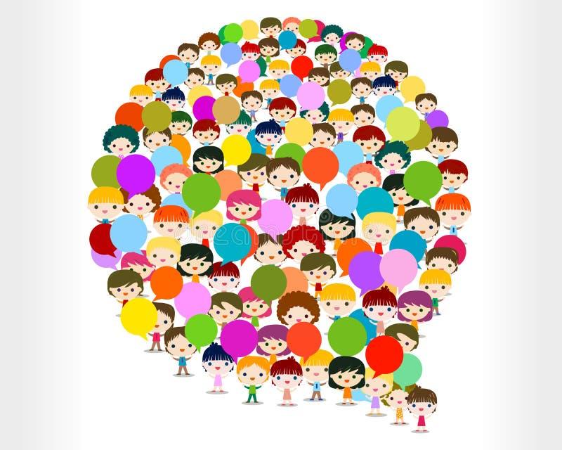 Ungar som talar i en bubbla stock illustrationer