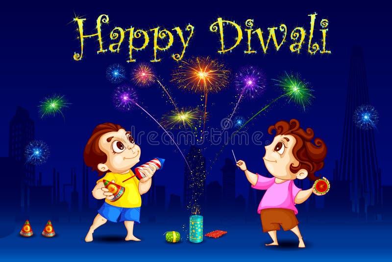 Ungar som tycker om Diwali stock illustrationer