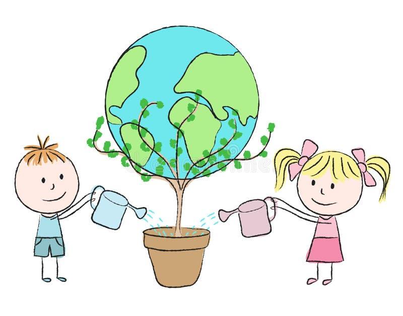 Ungar som växer en planet stock illustrationer